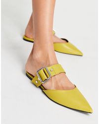 ASOS Loft Buckle Hardware Pointed Ballet Mules - Yellow