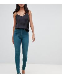 ASOS - Asos Design Tall Ridley High Waisted Skinny Jeans In Green Tone - Lyst