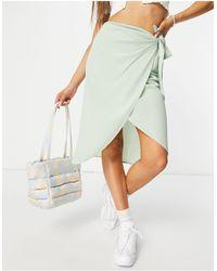 Pieces Marlene High Waisted Wrap Midi Skirt - Green