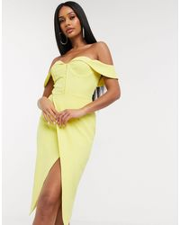 Lavish Alice Желтое Платье Миди С Открытыми Плечами -желтый