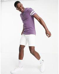 ASOS Фиолетовая Облегающая Футболка Из Органического Хлопка С Полосками На Рукавах - Пурпурный