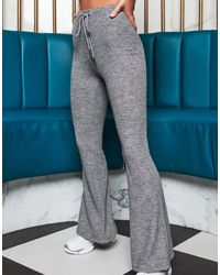 Lavish Alice X Patricia Bright Relaxed Ribbed Wide Leg Trousers - Grey
