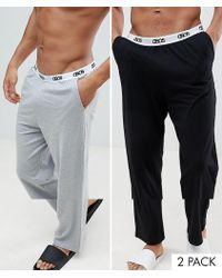 ASOS - Straight Pyjama Bottoms In Black & Grey With Branded Waistband 2 Pack In Organic Cotton - Lyst