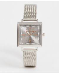 Steve Madden Rechteckige Damenarmbanduhr mit grauem Zifferblatt - Mettallic