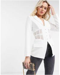 Lavish Alice Corset Blazer Co Ord - White