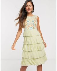 Frock and Frill Frock & Frill Tiered Embellished Mini Dress - Green