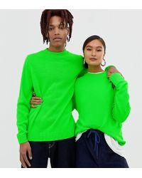 Collusion Unisex Neon Crew Neck Sweater - Green