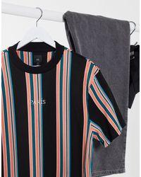 River Island Paris Stripe T-shirt - Black