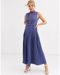 Little Mistress Lace Detail Midi Dress With Pleated Skirt - Blue