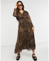 Mango Animal Print Midi Dress - Brown
