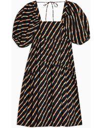 TOPSHOP Черное Ярусное Платье Миди Из Поплина -черный Цвет