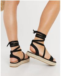 Truffle Collection Espadrille Tie Leg Sandals - Multicolour