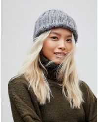 Mixed Marl Knitted Beanie Hat - Black white French Connection thZHB