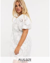 Skylar Rose Plus Tea Dress With Fitted Waist - White