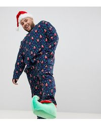 ASOS - Plus Mr & Mrs Christmas Woven Pyjama Set With Nutcracker Design - Lyst