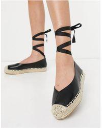 Glamorous Espadrilles allacciate alla caviglia nere - Nero