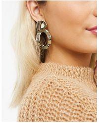 Warehouse Oval Drop Earrings - Metallic