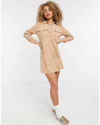 Noisy May - Бежевое Платье-рубашка Мини -коричневый Цвет - Lyst