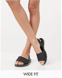 London Rebel Wide Fit Slingback Jelly Flat Sandals - Black