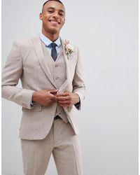 ASOS - Design Wedding Skinny Suit Jacket In Dusky Pink Herringbone - Lyst