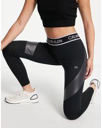 Calvin Klein Черные Леггинсы С Логотипом На Поясе Для Занятий Спортом От Комплекта -черный Цвет