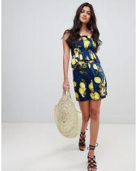 Glamorous - Button Down Skirt In Lemon Print Co-ord - Lyst