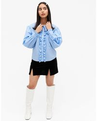 Monki Camina Cotton Frill Front Tuxedo Shirt - Blue