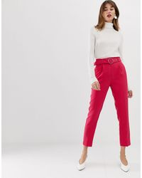Warehouse Tapered Trousers With O-ring Belt - Pink