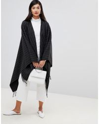 French Connection - Pinstripe Knit Poncho - Lyst