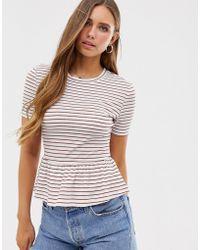 Glamorous Relaxed T-shirt With Peplum Hem In Stripe - White