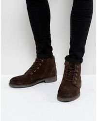 SELECTED - Trevor Suede Lace Up Boots In Brown - Lyst
