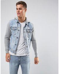 Hollister Holliser Denim Jacket With Jersey Sleeves And Hood - Blue