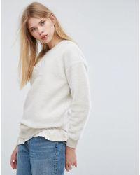 Converse - Sherpa Sweatshirt In Cream - Lyst