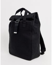 ASOS - Backpack In Black Canvas With Roll Top - Lyst