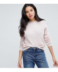 ASOS Tall Jumper In Fluffy Yarn With Crew Neck - Pink