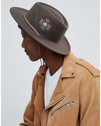 ASOS DESIGN - Pork Pie Hat With Wide Brim With Embroidery And Strap Detail - Lyst