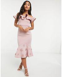 Chi Chi London Розовое Платье Миди С Оборками -розовый Цвет