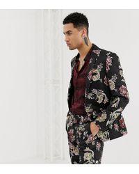 Heart & Dagger Skinny Suit Jacket In Metallic Floral - Black