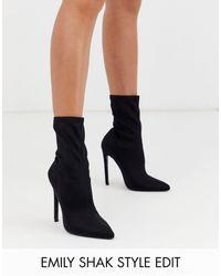 ASOS Esmerelda High Heeled Sock Boots - Black