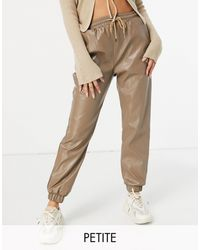 Missguided Faux Leather joggers - Natural