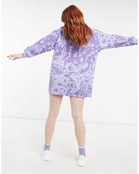 Daisy Street – Tokyo – Langärmliges Pulloverkleid mit Batikmuster - Blau