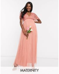 Maya Maternity Bridesmaid Wrap Front Delicate Sequin Maxi Dress With Tulle Skirt - Orange