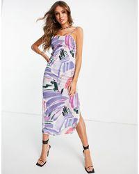 In The Style X Syd & Ell - Vestito lungo con spalline sottili con pennellate multicolore con spacco alla coscia
