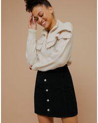 TOPSHOP Cord Button-front Mini Skirt - Black