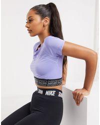 Nike Nike Pro Training Cropped T-shirt With Mesh Inserts - Purple