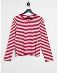 Monki Long Sleeve Stripe T-shirt - Red