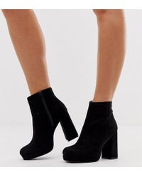 New Look Faux Suede Platform Heeled Boots In Black