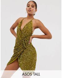 ASOS Asos Design Tall Allover Sequin Drape Mini Dress With Horn Buckle - Green