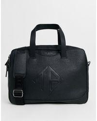Ted Baker Bolsa para portátil negra con logo en relieve Peng - Azul