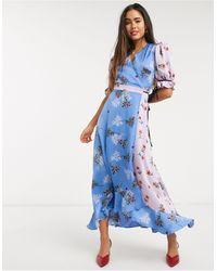Liquorish Платье Макси С Запахом И Цветочным Принтом -синий
